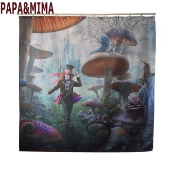 Papa&Mima Alice in Wonderland Waterproof Shower Curtains Polyester Bathroom Curtains With Hooks 150x180/180x180cm Decorative