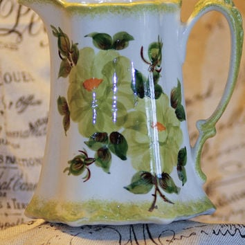 Large Cream & Green Floral Hand-Painted Buttremilk Pitcher by Cash Family Pottery
