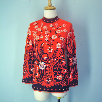60s Vintage Red Mod Flower Top Blouse Sweater