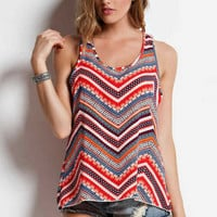 Red Waves Chevron Tank Top