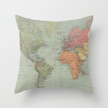 Vintage Map of The World (1889) Throw Pillow by bravuramedia