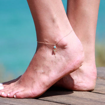 Gold Anklet - Gold Ankle Bracelet - Anchor Anklet - Foot Jewelry - Foot Bracelet - Chain Anklet - Summer Jewelry - Beach Jewelry