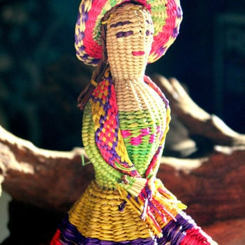 11'' Exquisite Ornate Basket Woven Mexican Bell Doll