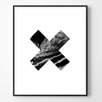 Modern Minimalist Print, Swiss Cross, Black and White Marble, Printable Cross, Instant Download, Minimalist Print, Scandinavian print