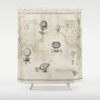"""Hot Air Balloons Shower Curtain - """"The Southern Route""""   - Mercator map, travel Home Decor - Bathroom - maps, antique brown, beige"""
