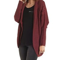 Ribbed & Pointelle Cocoon Cardigan With Tulip Slit