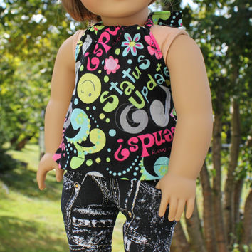 multi coloured halter top and black and white skinny jeans 18 inch doll clothes american girl maplelea