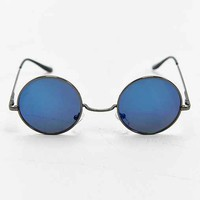 Blue Flash Pewter Round Sunglasses