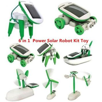 DROPSHIPPING 6 in 1 Educational Learning Power Solar Robot Kit Toy Transformation Robot DIY Toy Science Kit For Kid Birthday