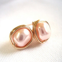 Light Pink Baroque Pearl Stud Earings, Wire Wrapped Jewelry Handmade, Swarovski Pale Pink Pearl Earrings, Light Rose Pearl Earrings