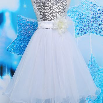Puffy Sequined Flowers Girl Dresses With Ribbon Bow Elegant Bow knot Girls Dresses