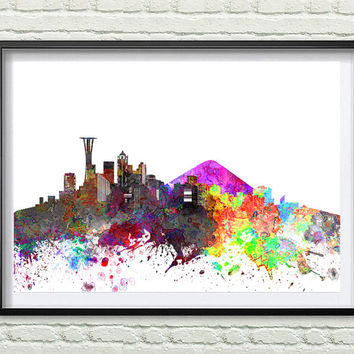 Seattle Skyline Print, Watercolor Art, Seattle Art, City Poster, City Skyline, Wall Art Cityscape, Home Decor *24*