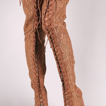 Bamboo Floral Lace Stiletto Over-The-Knee Boots