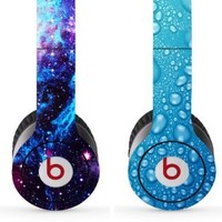 Skin Kit 2 Design Set for Solo / Solo Hd Beats By Dr. Dre - $1 Shipping! - (Headsets Not Included) - Universe & Water Drops