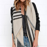 Cliffs of Moher Black and Beige Striped Scarf