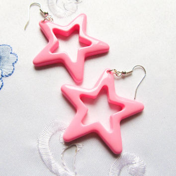 Big Kawaii 80s Style Pink Star Earrings, Star Earrings, Kawaii Earrings, 80s Earrings, Cute Earrings, Big Earrings, Retro