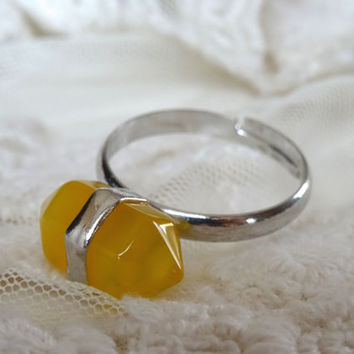1- Yellow Gemstone Point Ring Adjustabl Silver Stone Bullet Point Ring All Sizes Finished Jewelry on BuyDiy