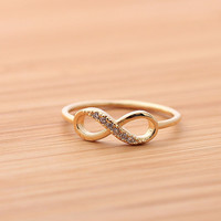 INFINITY ring with crystals,in gold (plated, 925 sterling) | girlsluv.it