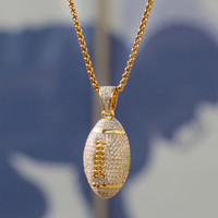 "Sterling Silver Men's 14k Gold Finish Iced Out Football Charm Pendant with 24"" Free Box Chain"