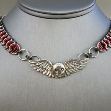 Gothic Skull Jewelry, Skull Necklace, Chainmaille Jewelry, Stainless Steel Jewelry, Chain Choker, Heavy Metal Jewelry, Winged Skull Jewelry