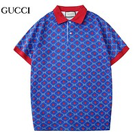 GUCCI New fashion more letter star print lapel couple top t-shirt
