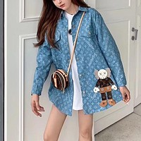 """""""Louis Vuitton"""" Woman's Kwas Leisure Personality Cartoon Embroidery Letter Printing Lapel Long Sleeve Coat Casual Wear"""