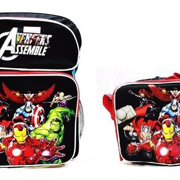 "Avengers Assemble Boys 16"" Canvas Black & Red School Backpack with Lunch Bag"