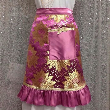 Fancy Pink satin silk apron, Mauve Pink Gold taffetta, Gift for girl, Tea hostess apron, Holiday gift, Bridal shower gift, Gift under 75