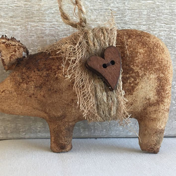 Primitive Pig Ornament - Pig Christmas Ornament