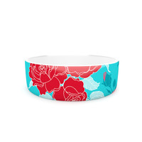 "Anneline Sophia ""Summer Rose Red"" Blue Aqua Pet Bowl"