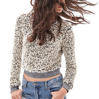 FOREVER 21 Marled Shag Sweater Cream/Black