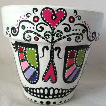 "Princess Day of the Dead 4"" flower pot planter Sugar skull catrina Halloween decor succulent garden hand painted terra-cotta pot skeleton"