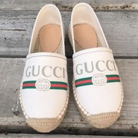 Gucci Twist Soles Flat Sandals Cloth fisherman shoes B-TFDXY-XNEDX Beige