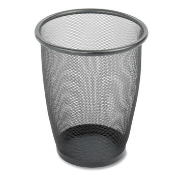 """Safco Products Company Steel Mesh Wastebasket, 5 Gallon, 13""""x14-1/2"""", Black"""