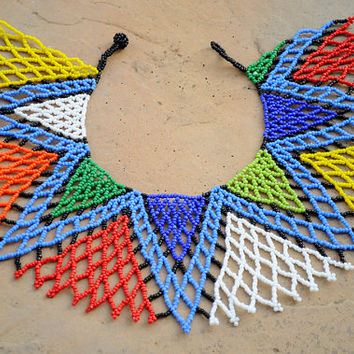 Statement shoulder necklace,Beaded collar necklace,Zulu necklace,tribal fashion,colourful necklace,ethnic African necklace