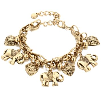 Fashion retro carved elephant footwear peach heart bracelet alloy anklet jewelry