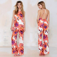 Floral Halter Backless Sleeveless Wide Leg Jumpsuit