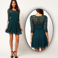 Round Neck Atrovirens Lace Bodycon Dress [64]