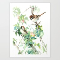 Sparrows And Apple Blossom Art Print by SurenArt