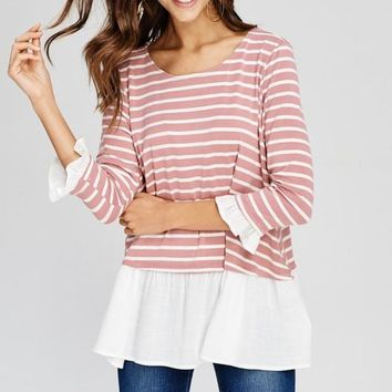 Mauve Striped 3/4 Sleeve Ruffle Top