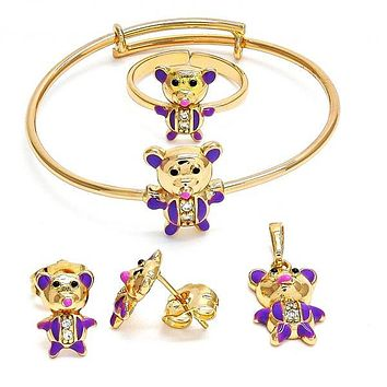 Gold Layered 06.26.0012 Earring and Pendant Children Set, Teddy Bear Design, with White Cubic Zirconia, Polished Finish, Gold Tone