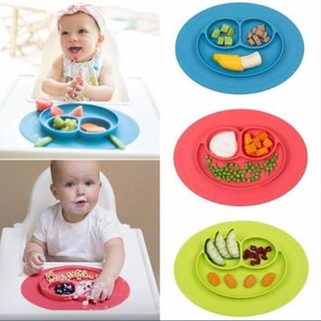 1Pcs Mini Size Smile Baby Rice Plate Food Grade Silicone Placemats Kids Suction to Dining Table Kitchen Dinnerware