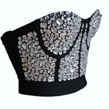 Blinged Out Crystalized Bandage Crop Top
