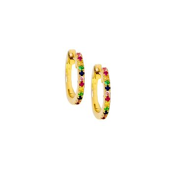 Small Rainbow Hoop Earrings