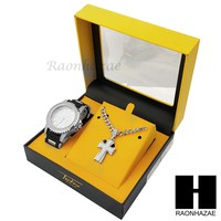 MEN ICED OUT TECHNO PAVE WATCH & CROSS PENDANT CUBAN CHAIN NECKLACE GIFT SET S73