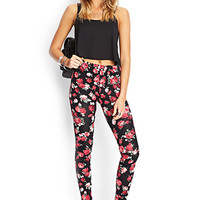 FOREVER 21 Soft Knit Floral Leggings