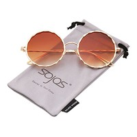 SOJOS Round Sunglasses for Women Glitter Textured Circle Metal Frame SJ1090