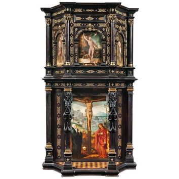 Spanish Architectural Sideboard with Depictions of the Passion of the Christ