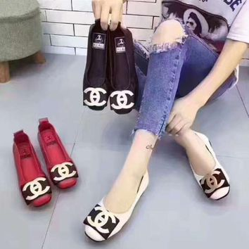 Women All-match Fashion Metal Buckle Letter Round-toe Shallow Mouth Genuine Leather Loafer Flats Shoes Single Shoes