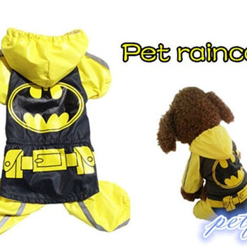 New Pet raincoat BatMan design Dog Jacket Waterproof Coat Pet Dress = 1927856452